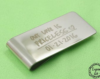 Our Love is  Priceless Acutal Handwriting Laser Engrave Transfer from Paper to Steel Money Clip
