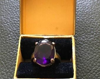 Purple amethyst dress ring