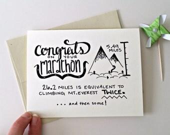 Marathon Card / Congratulations Marathon / Marathon Runner Card