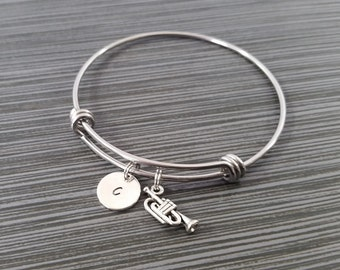 Silver Trumpet Bangle Bracelet - Band Student Bracelet - Personalized Bracelet - Musician Gift Bracelet - Musical Instrument Jewelry