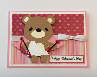 Valentine Card/ Cupid Card/ Bear Card/ Valentine's Day/ Valentine/ Bear Valentine Card/ Hearts