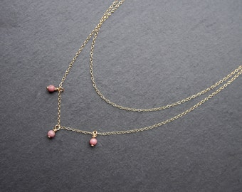 Layered Rhodonite Necklace // Rhodonite bead necklace