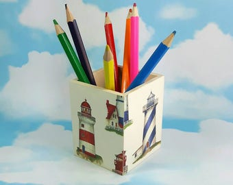 Lighthouse Pen Pot, Coastal Decor, Decoupage Pot, Pencil Pot, Seaside, Lighthouses, Desk Storage, Lighthouse theme, Seaside Gifts