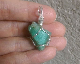 Natural rough Emerald sterling silver wire wrapped pendant 30.15 carats