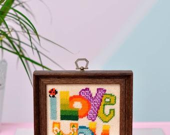 "Vintage ""I Love You"" Needlepoint - Psychedelic Colors & Ladybugs!"