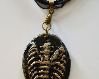 Black and Gold Horror Skeleton Bones Torso Ribcage Necklace