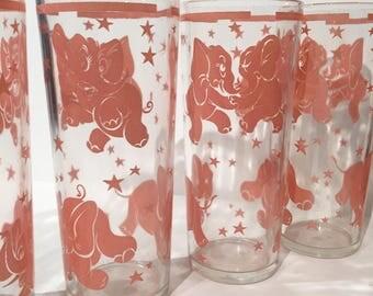 Hazel Atlas Pink Elephant Tumblers Set of 5 Vintage Pink Elephant Tumblers | Drinking Glasses