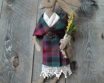 Scottish Hare Girl wearing Arisad Primitive Soft Sculpture Doll