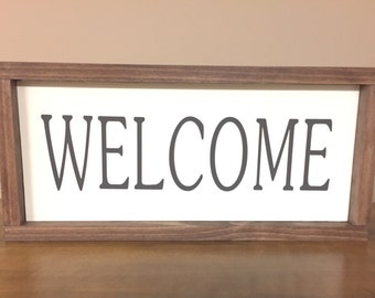 Welcome - Ivory Wood Sign with Dark Brown Lettering and Stained Frame, Home Decor, Sign, Gift