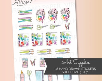 Art Supplies Hand Drawn Planner Stickers, Paint brush, watercolors, art planner stickers - Glossy art supplies planner stickers