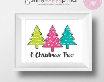 O Christmas Tree Print, DIY Christmas Decor, Pink Lime Teal Retro Christmas, DIY Instant Download Holiday Art, Shiny Happy Prints