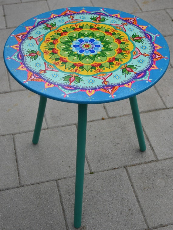Hand Painted Small Round Table Painted Furniture Boho Style