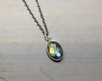 Mini Labradorite sterling silver oxidized necklace