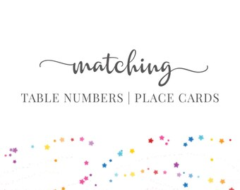 Matching Table Numbers | Place Cards, Add-On, DIGITAL - by Hands in the Attic