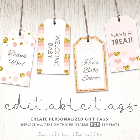 Pink And Gold Gift Tags, Editable Party Favor Tags, Printable Tags, Thank You Tags, Baby Shower