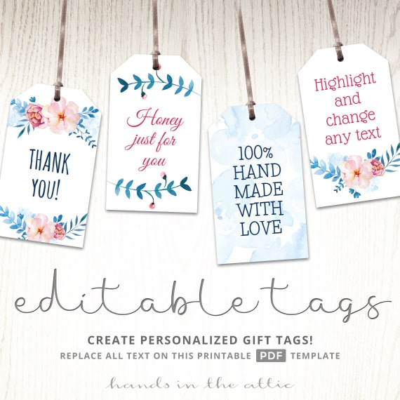 Free Printable Wedding Gift Tags: Printable Floral Gift Tags Party Favors EDITABLE Labels Baby