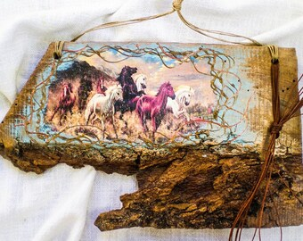 Rustic Vintage Painting Reclaimed Wood Wall Decoration English Herds of Horses Handmade Decoupage Art Natural Acrylic Paint Unique Gift