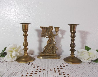 Vintage Gold Brass Unity Angel Candle Holder Set Rustic Fall Wedding Reception Taper Pillar Candleholder Collection Mid Century Decor