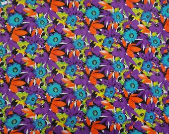 "Dressmaking Fabric, Multicolor Floral Print, Home Decor Fabric, Black Fabric, Sewing Crafts, 45"" Inch Rayon Fabric By The Yard ZBR179B"