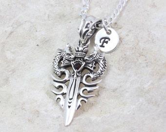 Silver sword Necklace, dragon necklace, mens necklace, silver dragon & initial, sterling silver sword necklace, sword necklace, Chose Chain