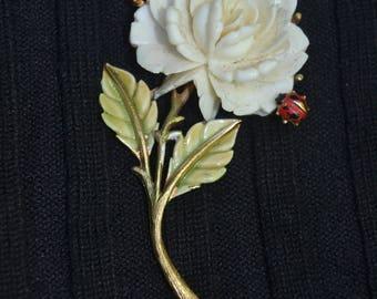 Vintage JJ Jonette Jewelry White Flower with Ladybug  Brooch