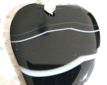 Banded Black Onyx Heart Pendant Necklace