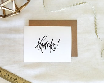 Handlettered 'Thanks' Greeting Card | Single or Pack of 5