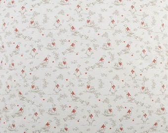 White and red Jemima  Puddleduck Beatrix Potter inspired  print design  Fabric by the metre