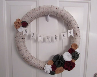 Fall Yarn Wreath, Autumn Yarn Wreath, Harvest Yarn Wreath, Fall Wreath, Autumn Wreath, Harvest Wreath, Fall Decor