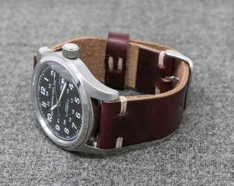 Leather Watch Band | The Hudson Strap |  Horween Burgundy Color #8 Chromexcel Watch Strap - Handmade
