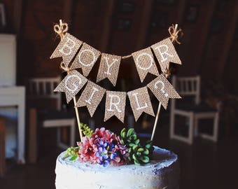 Gender Reveal Cake Topper, Boy or Girl Cake Topper, Gender Reveal Ideas, Gender Reveal Decorations, Gender Reveal Party, Rustic Baby Shower