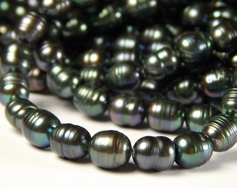 16 Inch Strand - 9mm Gunmetal AB Pearl Rice Beads - Pearl Beads - Jewelry Supplies