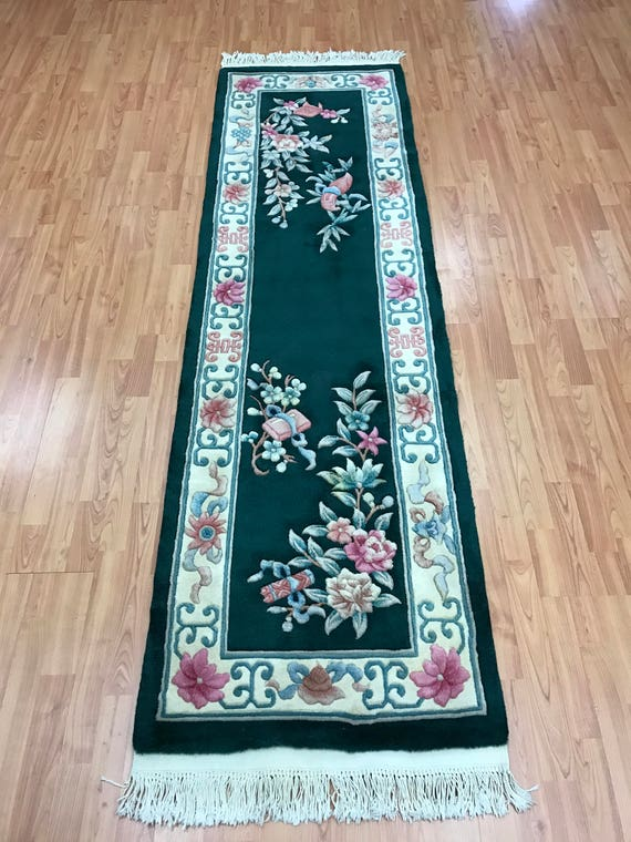 "2'3"" x 7'8"" Chinese Aubusson Floor Runner Oriental Rug - Hand Made - 100% Wool"