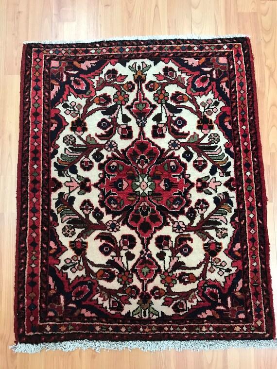 "2' x 2'6"" Persian Sarouk Oriental Rug - 1950s - Hand Made - 100% Wool"