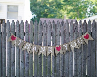 Thank You Banner / Burlap Wedding Sign / Wedding Banner / Wedding Decoration / Rustic Wedding / Thank You Sign / Bridal Banner / Burlap Sign