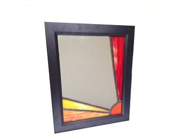 Stained glass mirror, glass mirror, sun mirror, orange mirror, Mother's Day, gift, present, sun, sunbeam, orange, red, Art Deco,