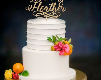 Personalised name cake topper, wooden bride and groom cake topper, wedding cake toppers decorations, letter cake toppers, gold cake topper