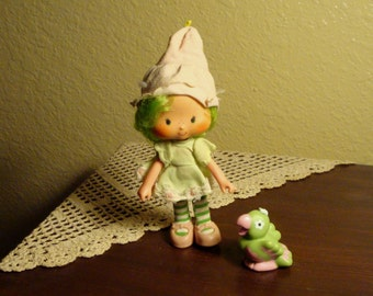 Vintage Strawberry Shortcake Lime Chiffon Doll - Complete With Parfait Parrot Pet (1979)