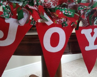 Joyful Christmas Garland, Christmas Rag Garland, Holiday Garland, Christmas Decoration, Joyful Banner