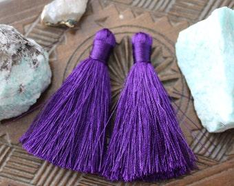 Set of 2, Purple Tassel, 2 inches, Small Purple Tassel, Silk Tassel, Purple Silk Tassel, Jewelry Tassel, Silk Jewelry Tassel, B05