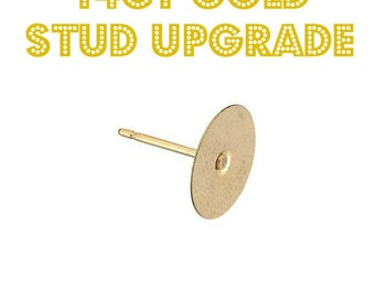 14ct gold stud back upgrade