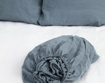 Linen fitted sheet, stonewashed. Grey blue colour. Twin, double, queen, king, custom sizes.