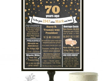 70th Birthday Chalkboard Sign, 1947 Birthday Poster, Personalized 70 Birthday Decorations, 70 birthday gifts, Milestone Birthday, PRINTABLE