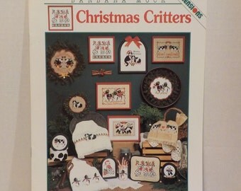 Christmas Critters 10 Cross Stitch Patterns Dalmatians Cows Penguins Cats Teddy Bears By Dimensions