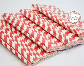 Red Striped Straws, Red Straws, Striped Straws, Pack of 25, Paper Straws, Red Cake Pop Sticks, Red Party Decor, Party Straws, Red Wedding