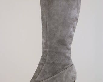 "1990s Grey Suede Boots - Cole Haan Grey Tall Suede Boots - Size 8 - 2.5"" - Wedge Heel - Nike Air Technology in Sole"