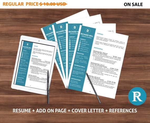 80% off SALE Resume Template and Cover Letter Template for Word, DIY Printable 4 Pack, Professional and Modern Resume, CV, Teacher Resume