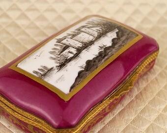 Sevres antique hand painted French porcelain jewelry box, dresser trinket casket, gold, gilt, bronze hinged lid, landscape, french France