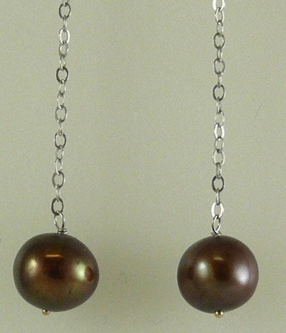 Freshwater Chocolate Pearl Drop Earring 14k White Gold