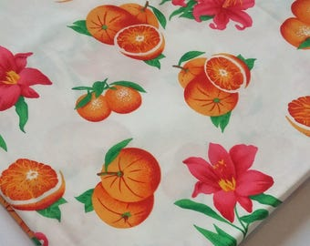 Orange and Red Lily Flower Cotton Fabric